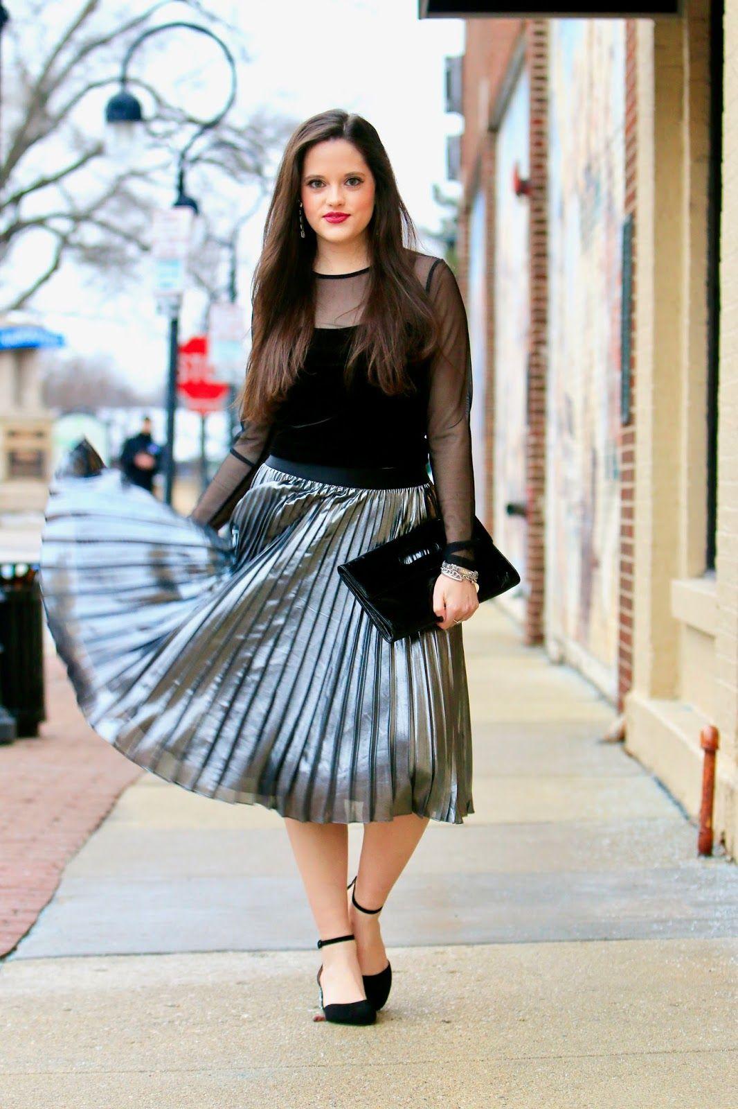 Silver Stunner // Metallic Pleated Skirt Velvet Crop Top | Kats Fashion Fix_blog | Pinterest ...