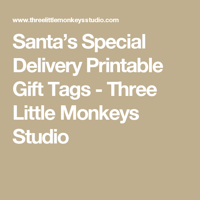 Santa's Special Delivery Printable Gift Tags - Three Little Monkeys Studio