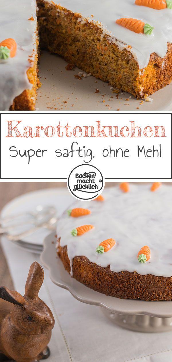 Tolles Rezept für den Osterklassiker schlechthin: Karottenkuchen oder Rüblitorte. Dieser Möhrenkuchen wird ohne Mehl gebacken. Dadurch ist der Karottenkuchen besonders saftig.  #karottenkuchen #rüblitorte #ostern #frühjahr #backenmachtglücklich
