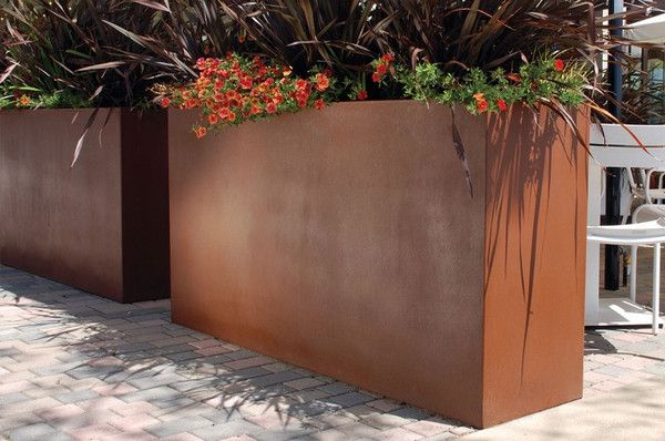 Gratia Tall trough planter; a beautiful tall trough planter with a very nice copper finish.