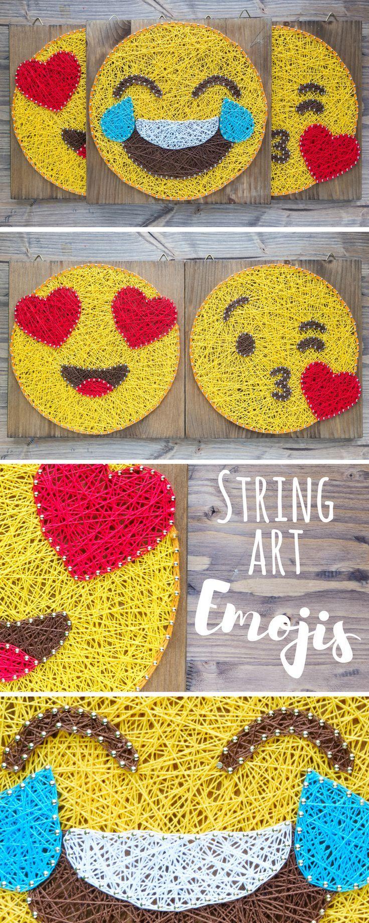 Modern Emoji String Art Wall Decor, smarty pants yellow emoji ...