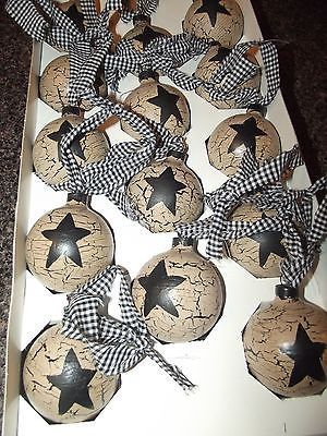 Primitive Crackle Painted Glass Ornaments ~ Tan, Black Star
