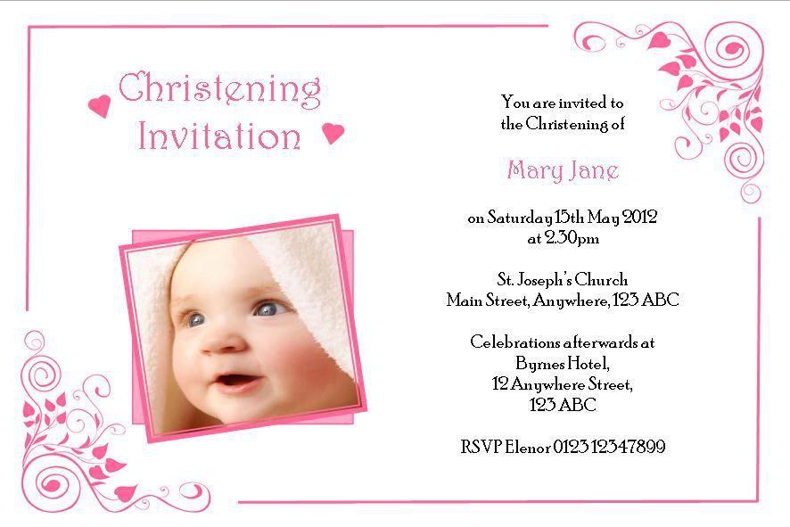 baptismal invitation card  christening invitations girl