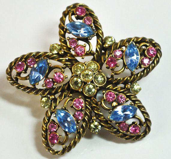 55d1ef244 Pastel Rhinestones in Gold Tone Metal Hollycraft Inspired Star Flower  Brooch Pin