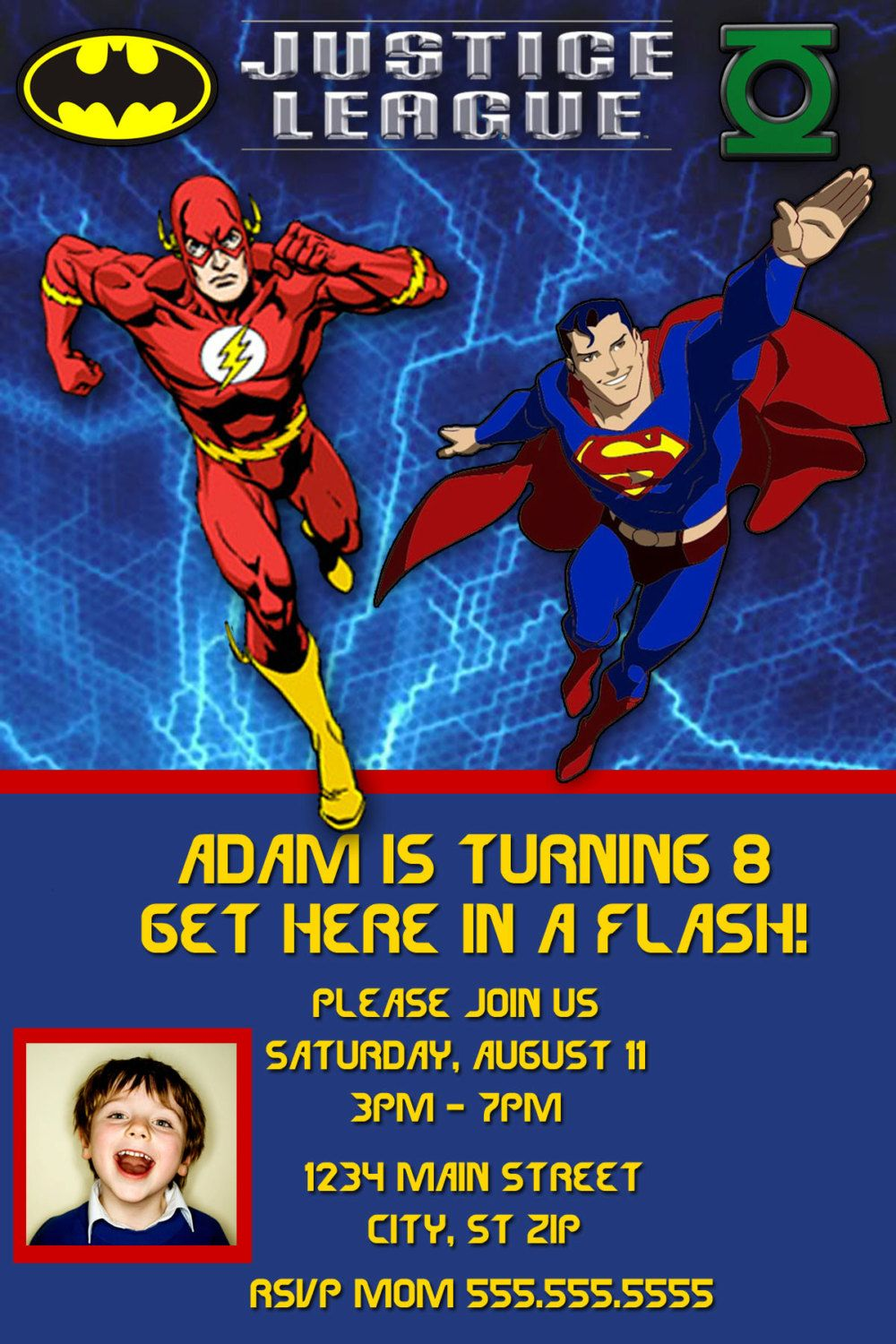 justice league birthday invitation by charmingangel on