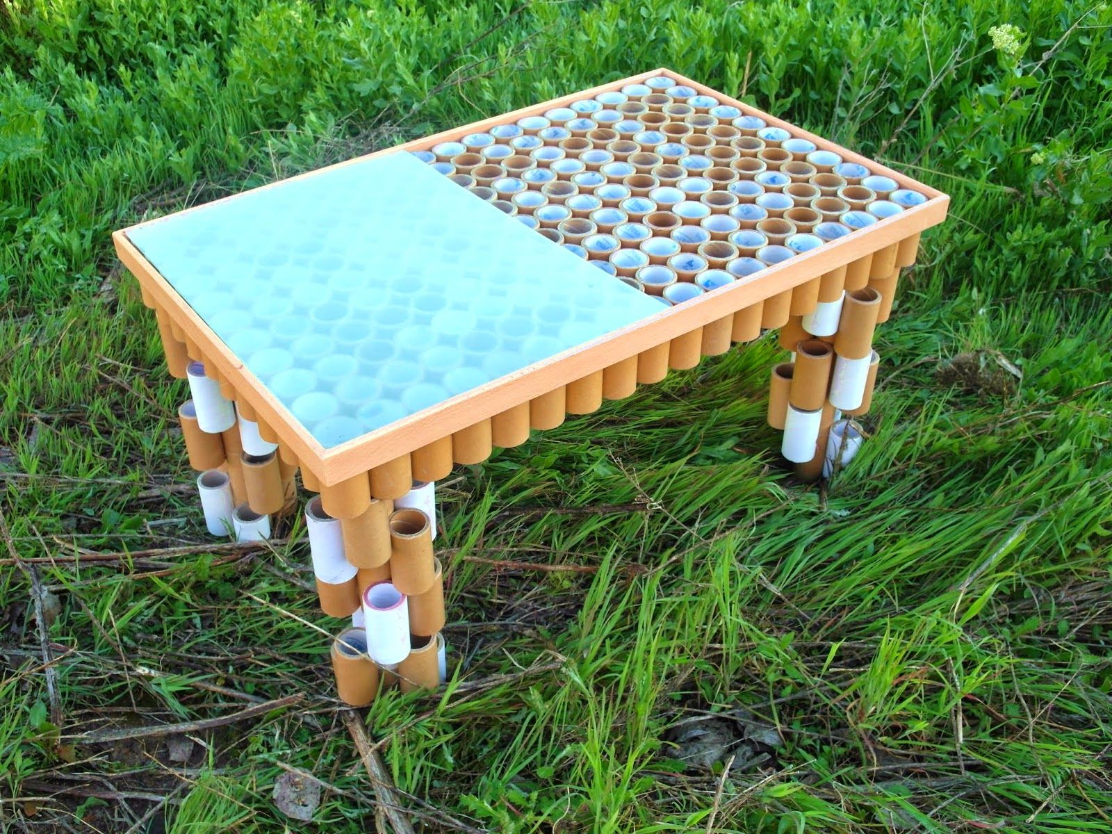 Mesa De Centro Construida Con Tubos De Cart N By Tamal Nuestros  # Muebles De Tubos De Carton