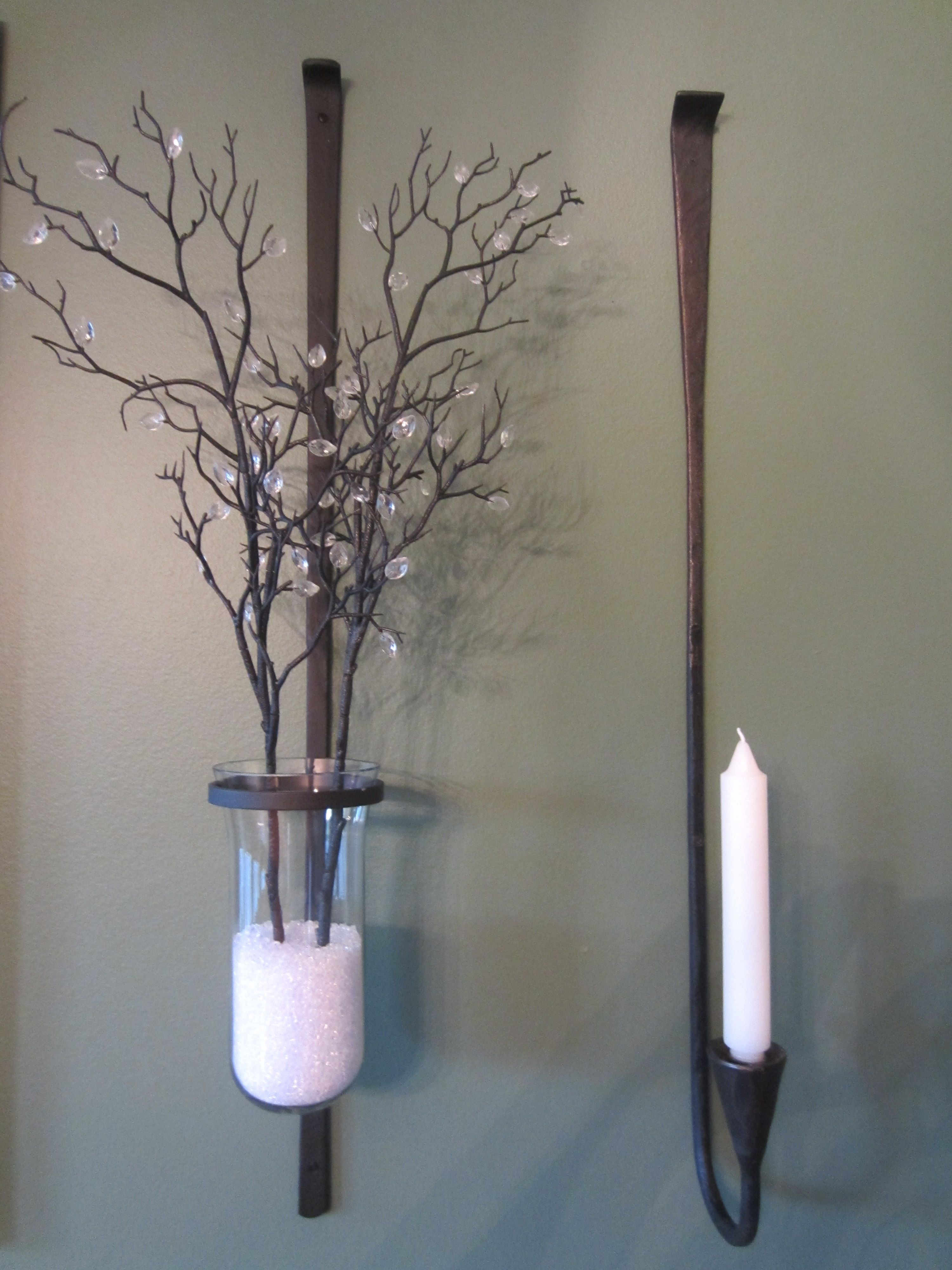 744db75b6e Love the tree branches and both the wall-mount candle holders. The wall- mounts are from Pottery Barn. The jeweled tree branch you can find at Hobby  Lobby or ...