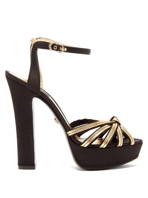 Peep-toe satin & leather platform sandals | Dolce