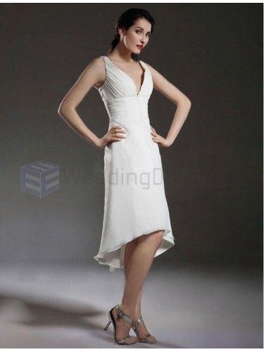 b1ddfa2d1d4f A-line V-neck Tea-length Satin Chiffon Wedding Dress with Ruffles ...