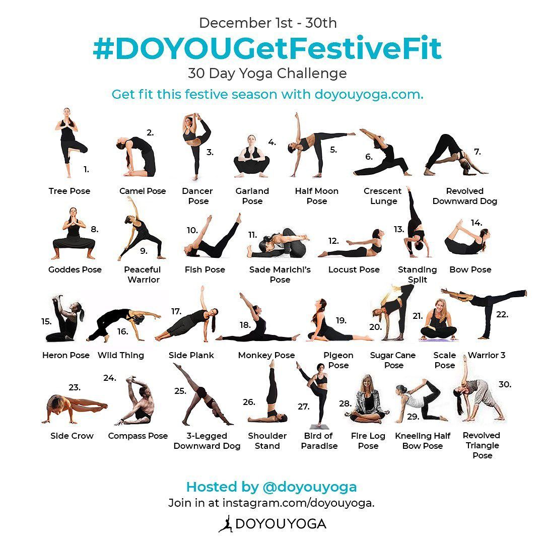 Doyouyoga Com On Instagram Join The December Yoga Challenge Doyougetfestivefit It S The Last Mo 30 Day Yoga Challenge 30 Day Yoga Yoga Challenge