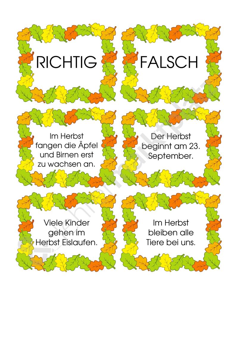 Herbsträtsel – richtig oder falsch? – Sachunterricht | Schule ...