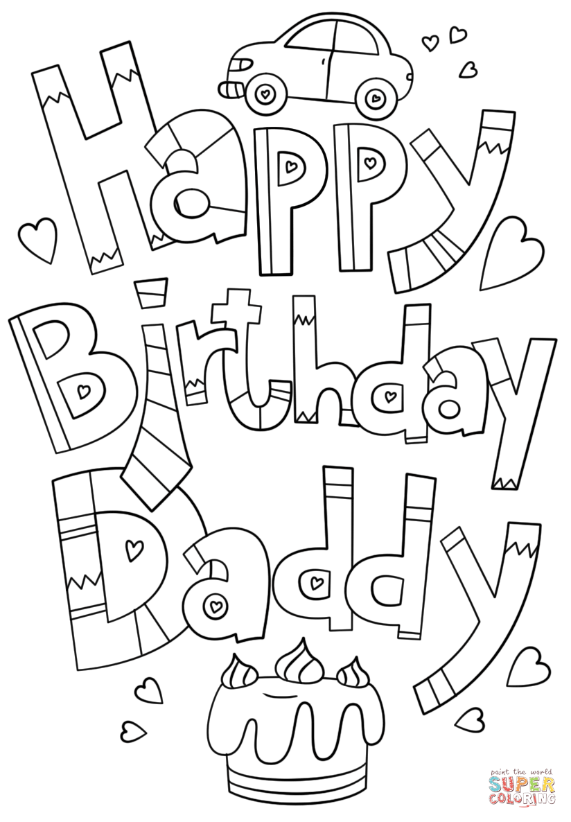Happy Birthday Daddy Doodle Coloring Page From Happy