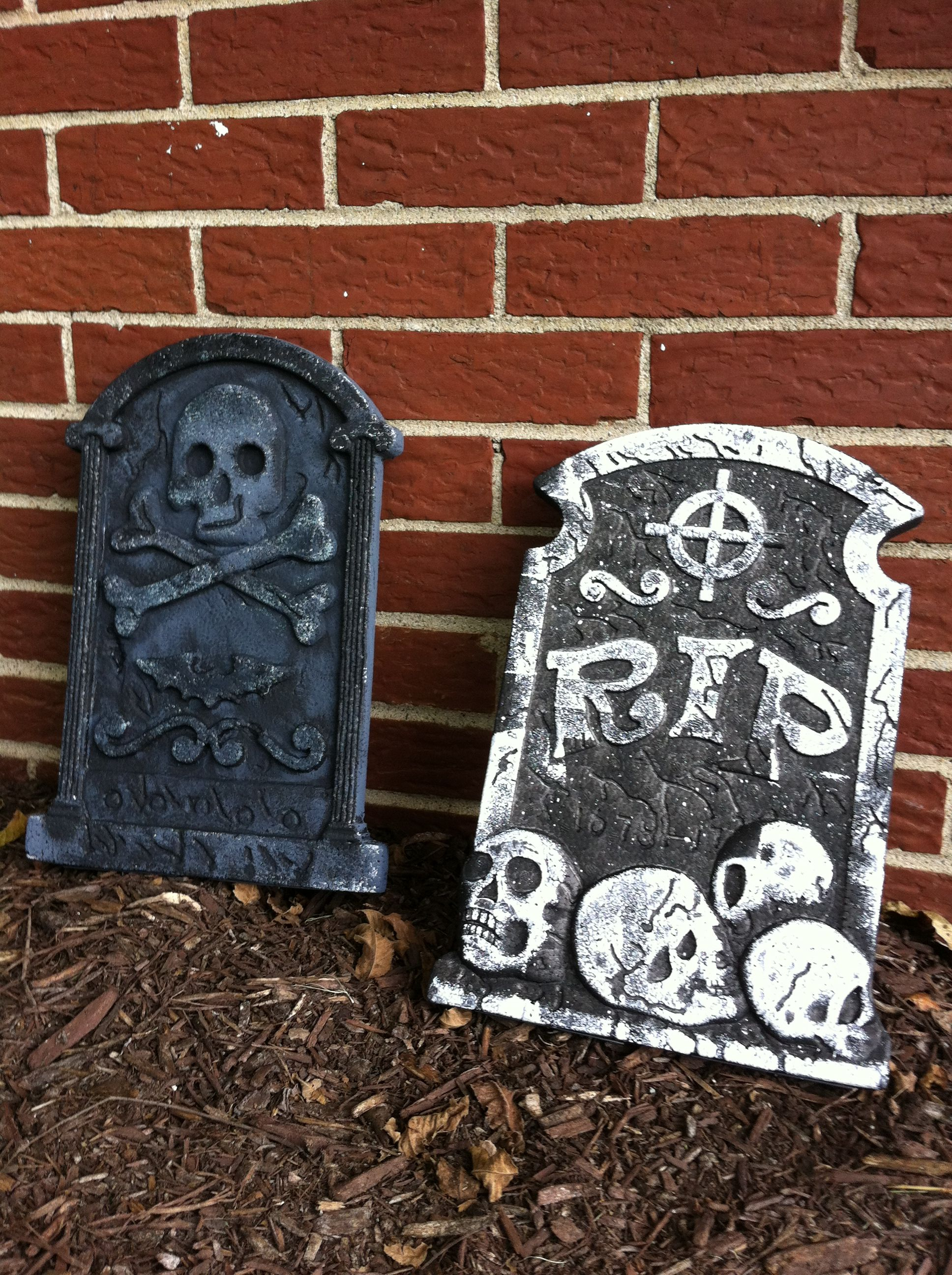 halloween chair covers dollar tree rental utah take styrofoam tombstones and paint them like