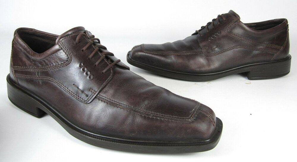 ECCO BROWN LEATHER SQUARE TOE LACE UP OXFORDS MEN'S SHOE