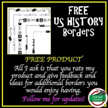 US History Borders FREEVISIT MY STORE AND FOLLOW TO GET UPDATES WHEN NEW RESOURCES ARE ADDED Included Borders: 1950s Border1960s Border1980s BorderCivil Rights Movement BorderVietnam War BorderI hope you enjoy this FREE product, please go to the MY PURCHASES section under the MY TPT bar and click on the free downloads to leave feedback.