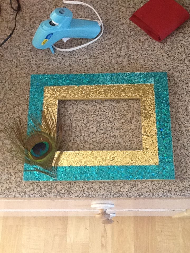 Peacock Inspired Diy Glitter Picture Frame Glitter Picture