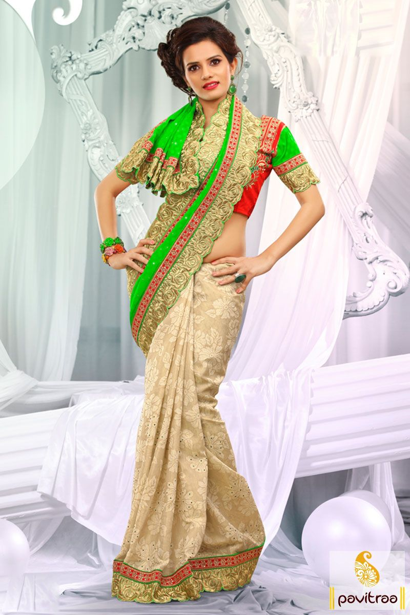Off white lime designer party wear Saree which is embroidered, resham worked and lace patti worked. The finest georgette and dhupion made beautiful attire.