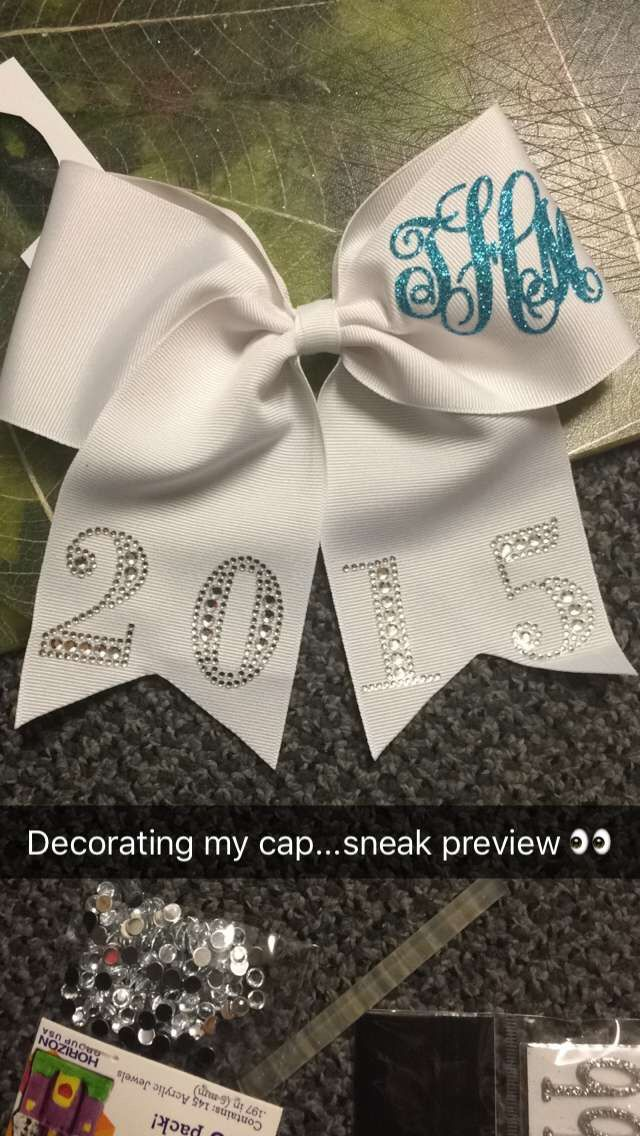 My bow I placed on the back of my graduation cap. Bow purchased from Etsy. Numbers bought from Hobby Lobby