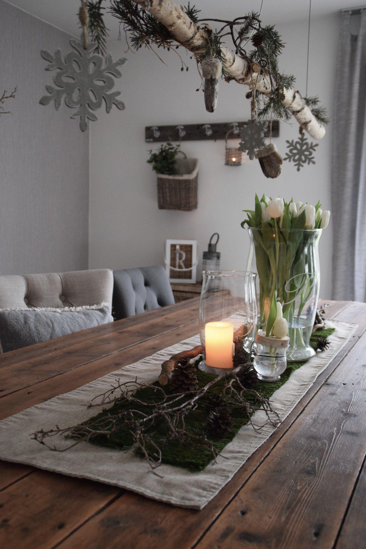 Tischdeko Natur   Elas Dekoideen   Tischdekoration, Dekoration wohnzimmer, Dekoration