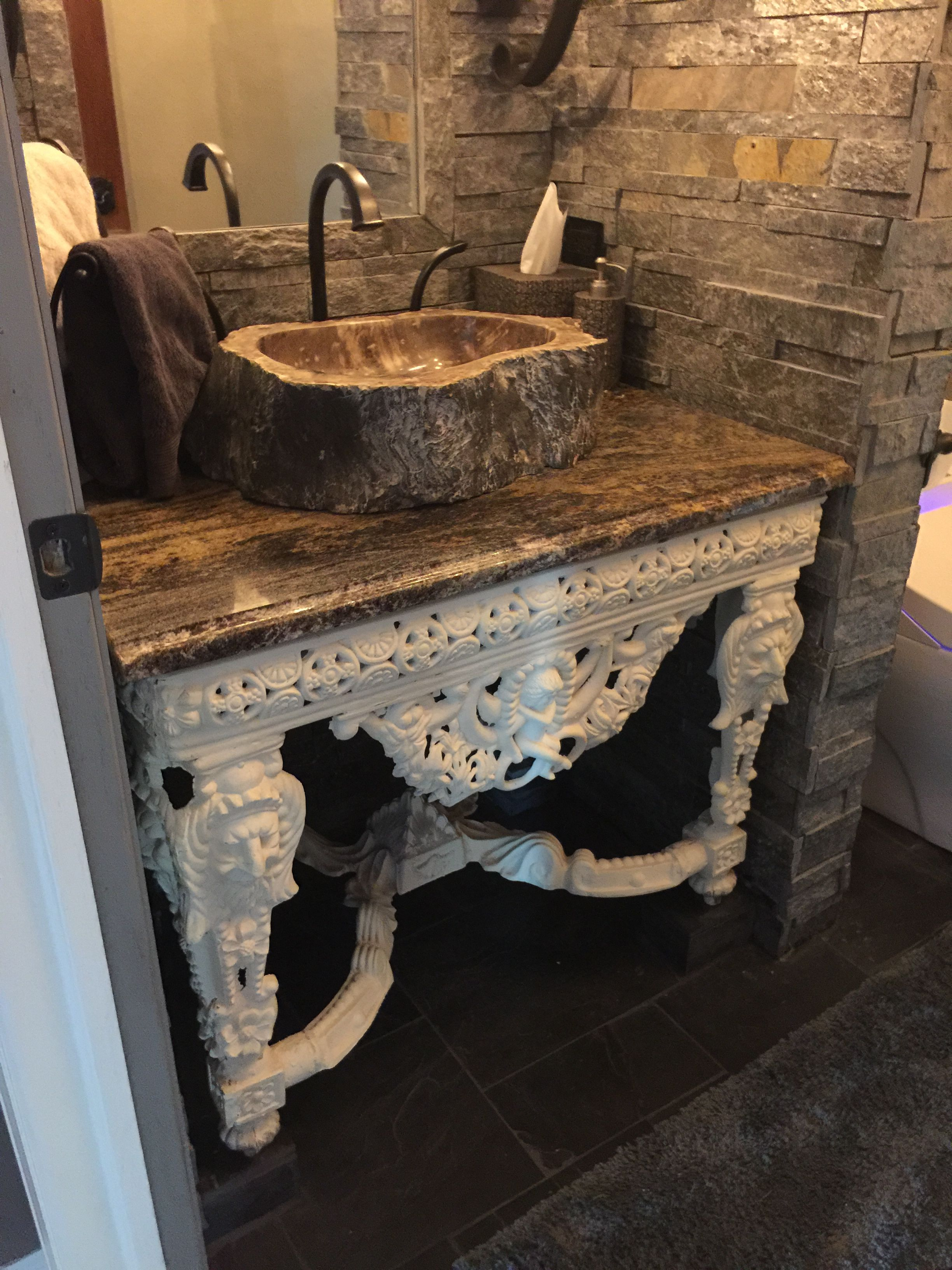 Our Castle Old World Powder Room With Stone From Floor Decor