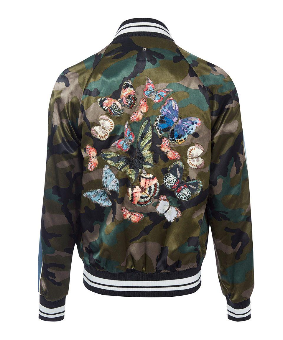 Valentino Khaki Camo Butterfly Bomber Jacket Menswear Camo Butterfly Jackets Men Fashion Jackets [ 1153 x 960 Pixel ]