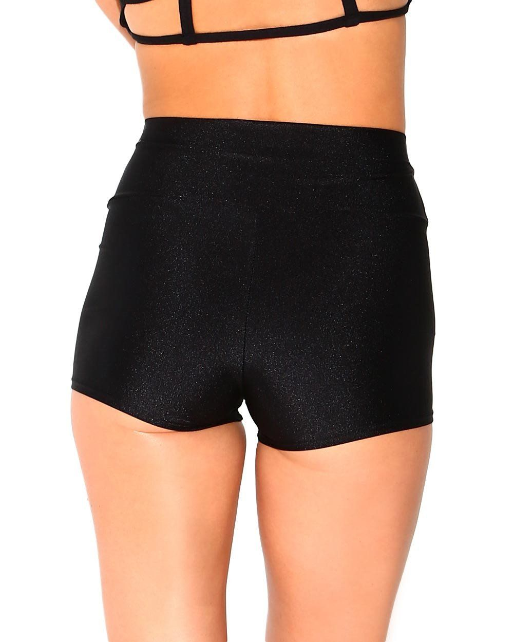 iHeartRaves Womens High Waisted Solid Booty Shorts Rave Festival Bottoms