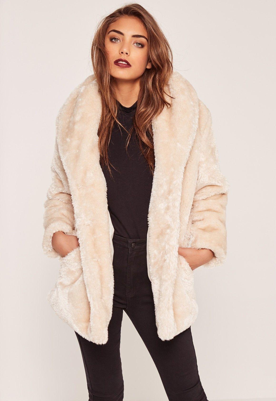 Missguided - Petite Pressed Faux Fur Coat Cream | Real Job Real ...
