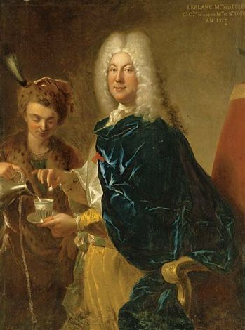 Portrait of Le Blanc, Minister of War, three-quarter-length, being served chocolate by a young male servant by François de Troy