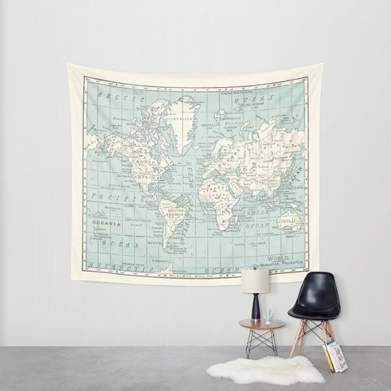 World map wall tapestry vintage map dorm room decor blue and world map wall tapestry vintage map dorm room decor blue and cream beautiful map travel decor wall decor den bedroom library gumiabroncs Image collections