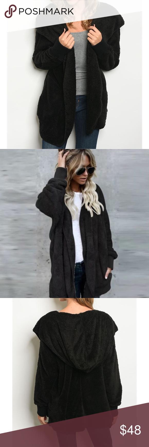 Super Soft Black Sherpa Jacket Long sleeve open front