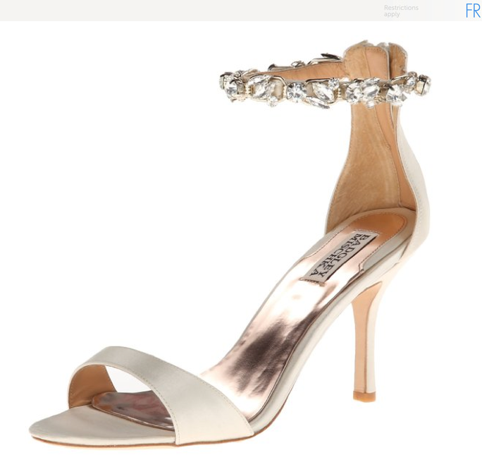 Ivory Satin Ankle Strap/Accent Heels angle view
