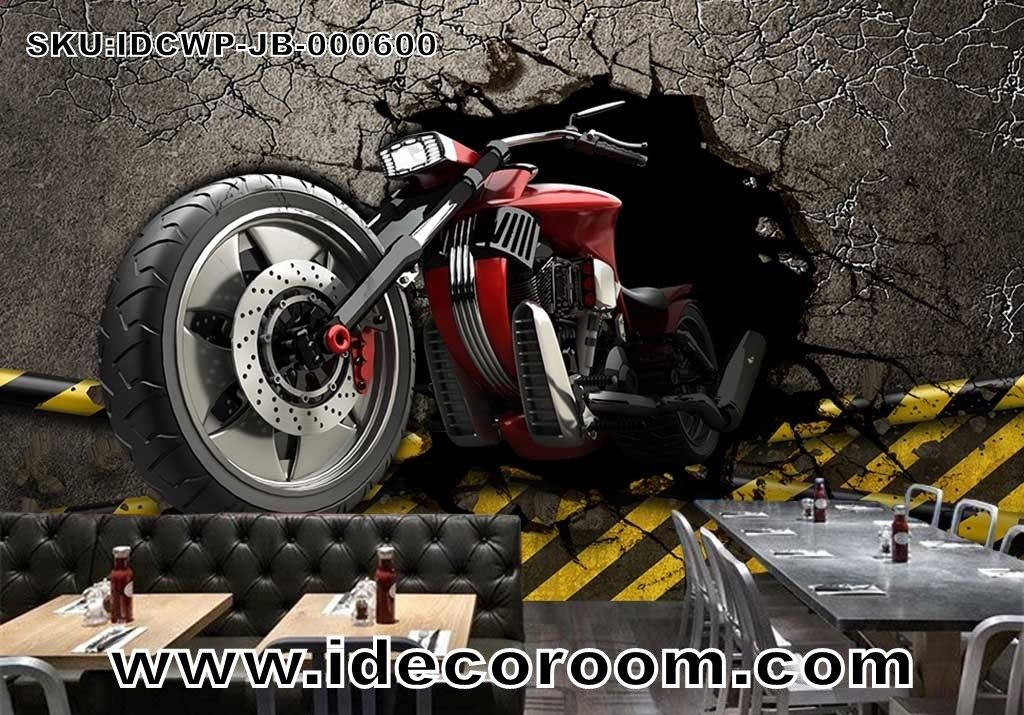 3d Wallpaper Graphic Design Red Motorbike Breaking Wall Art Wall