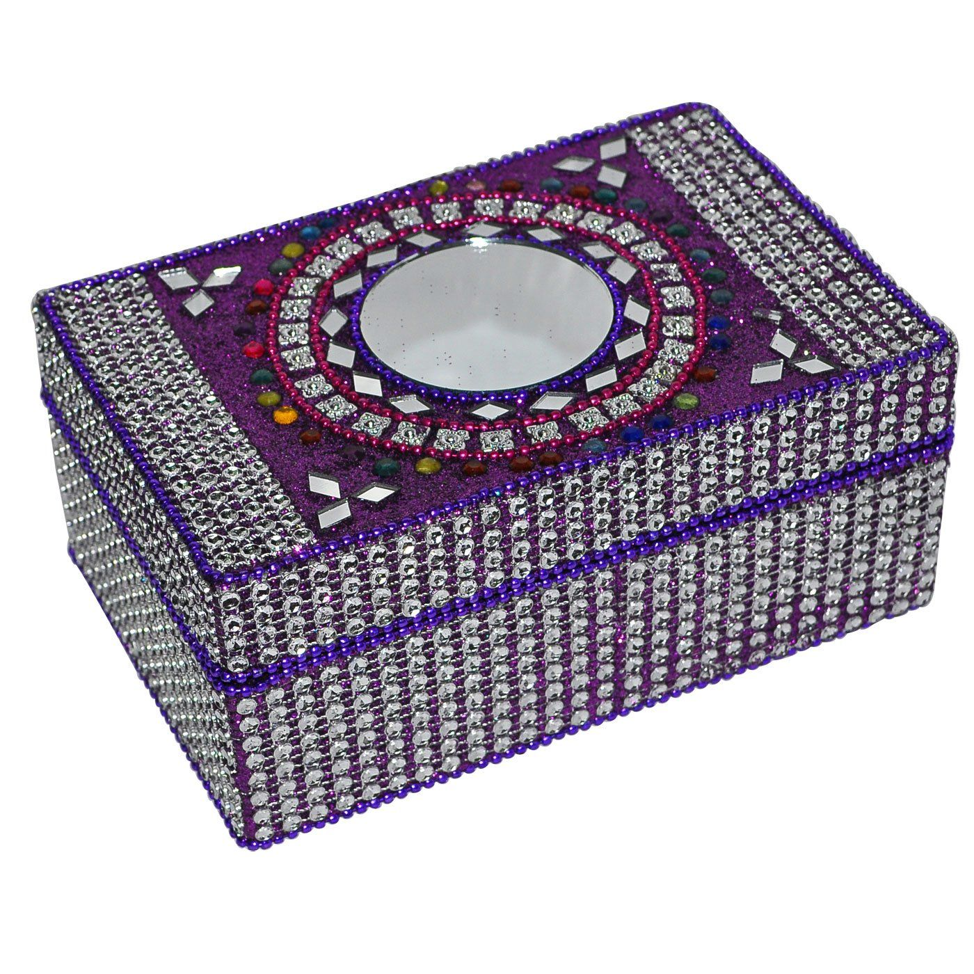 Rectangle Purple Handmade Jewelry Box in Lac Jewelry Boxes