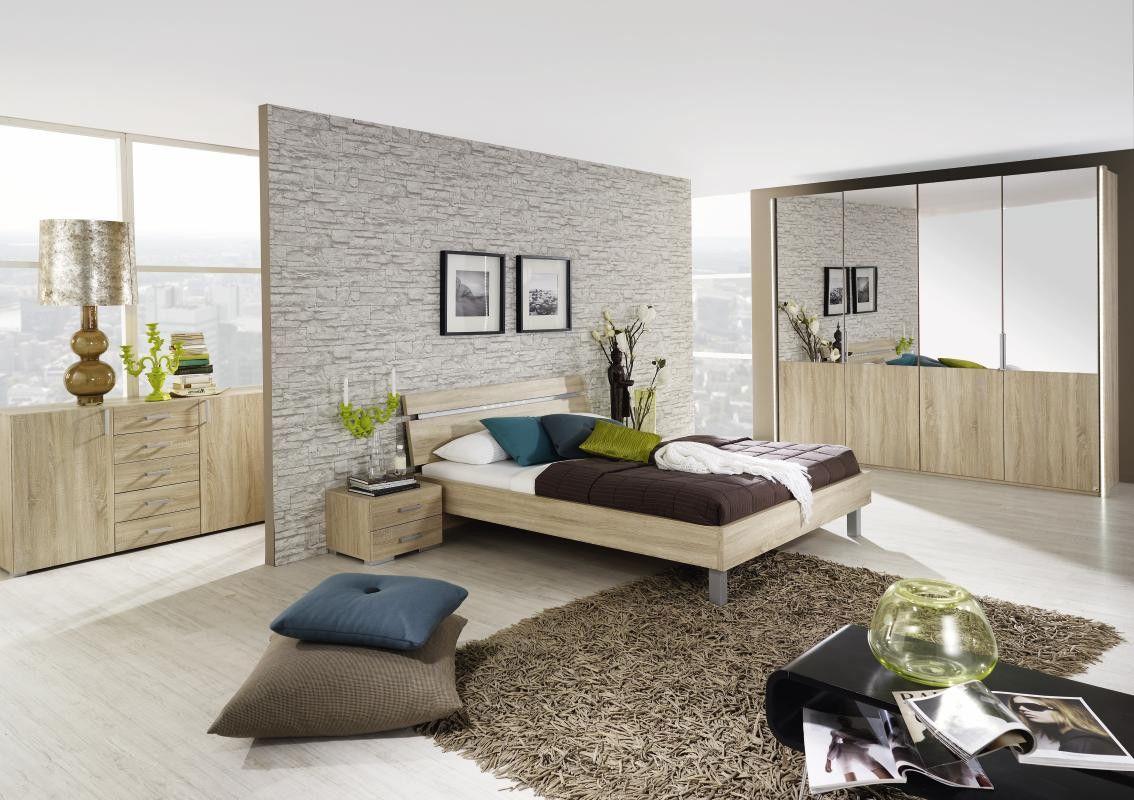 Schlafzimmer Mit Bett 140 X 200 Cm In Eiche Sonoma Woody 33 00579 Holz  Modern