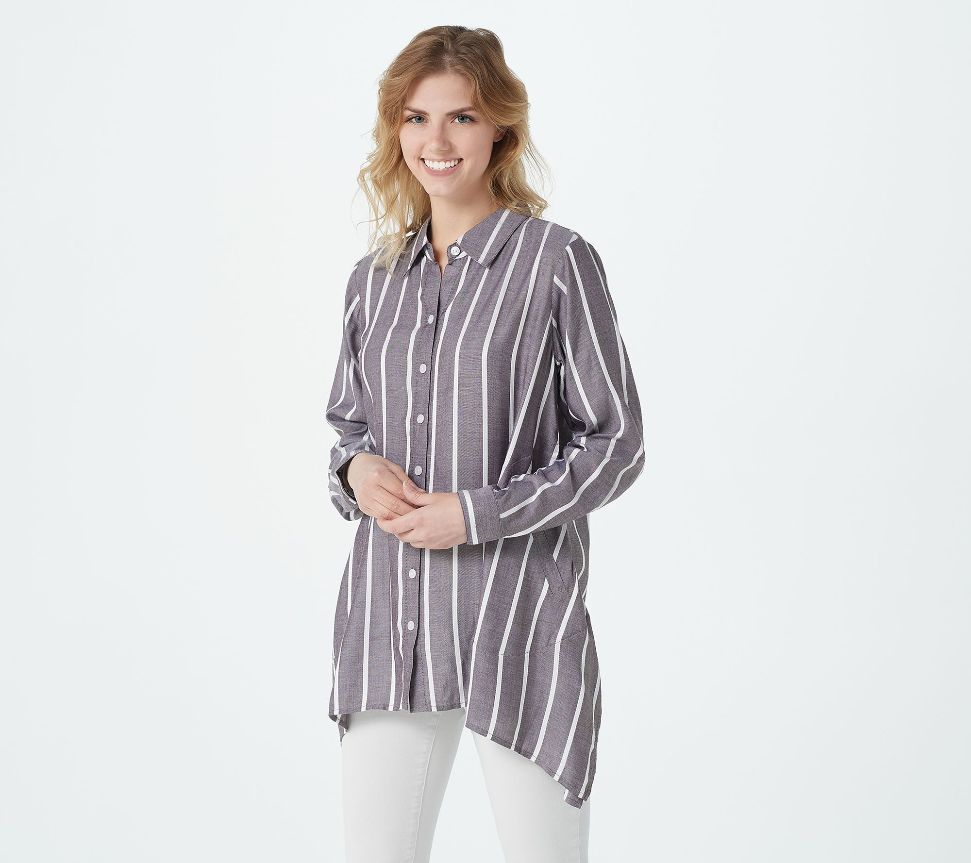 Break out of the white button-front rut -- with this free-flowing pocketed shirt in forever-chic stripes. From Linea by Louis Dell'Olio.