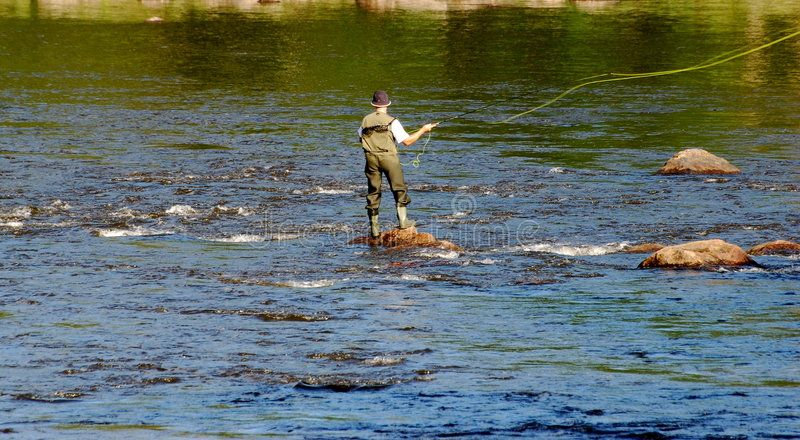 Fly Fishing In Sweden Man Fly Fishing While Standing On A Large Rock In The Mid Sponsored Man Fly Sweden Fly Fish Fly Fishing Image Of Fish Image