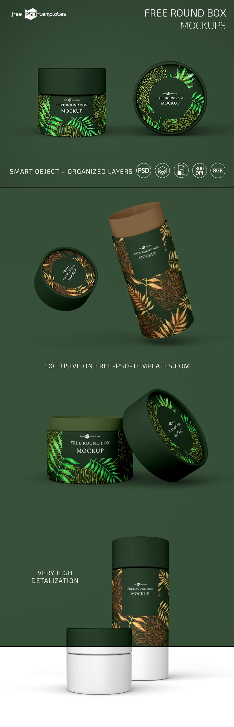 Download Free Round Box Mockup Set Free Psd Templates Box Mockup Free Packaging Mockup Psd Template Free