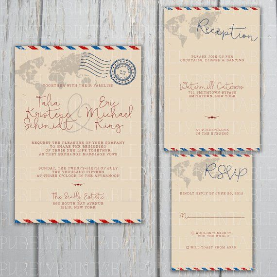 Airmail Wedding Invitations: Airmail Printable Wedding Invitation Package For Travel