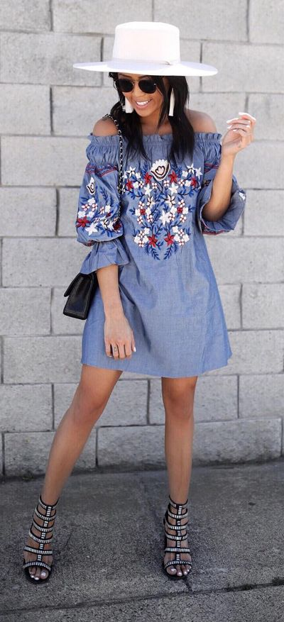 770b75793d2 This off-shoulder denim dress boasts simplistic rose embroidery that s sure  to sweep you off your feet. Embroidery for Romance Off-shoulder Denim Dress  ...
