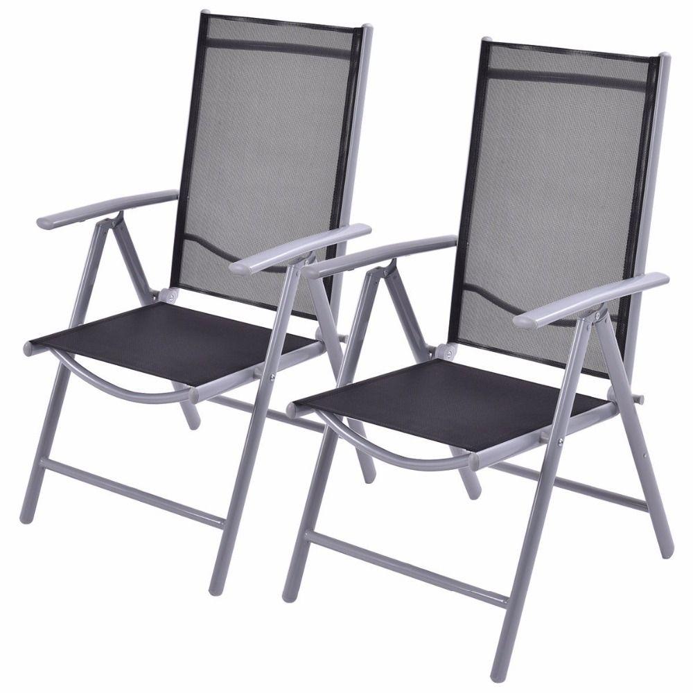 Sedie Sdraio Pieghevoli Alluminio.Goplus Set Di 2 Patio Sedia A Sdraio Pieghevole Regolabile