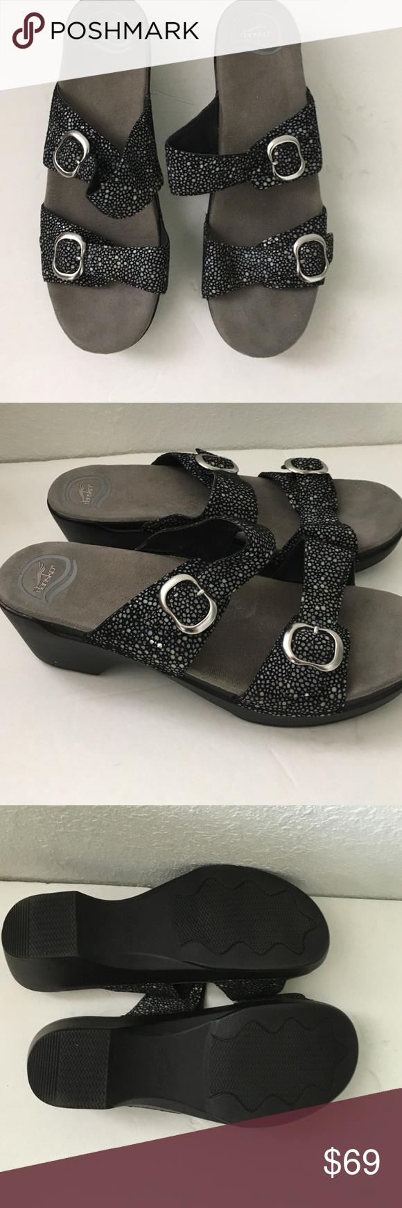 Dansko Sophie Black shagreen sandals 42 12 Brand new shimmer black sandals EU 42 12 Dansko Shoes Sandals