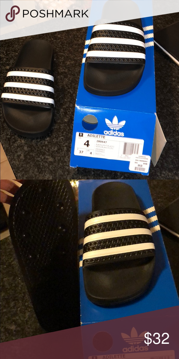 8f0c65477 Adidas slides Never worn. They are size 4 in men's. I am normally a 6 1/2  and they are just slightly a little small! So probably would fit a women's  size 6 ...