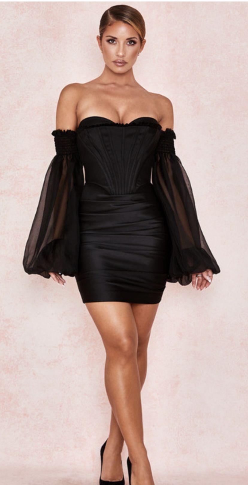 Clothing Structured Dresses Beau Black Satin And Chiffon Corset Dress Corset Dress Structured Dress Dresses [ 1615 x 828 Pixel ]