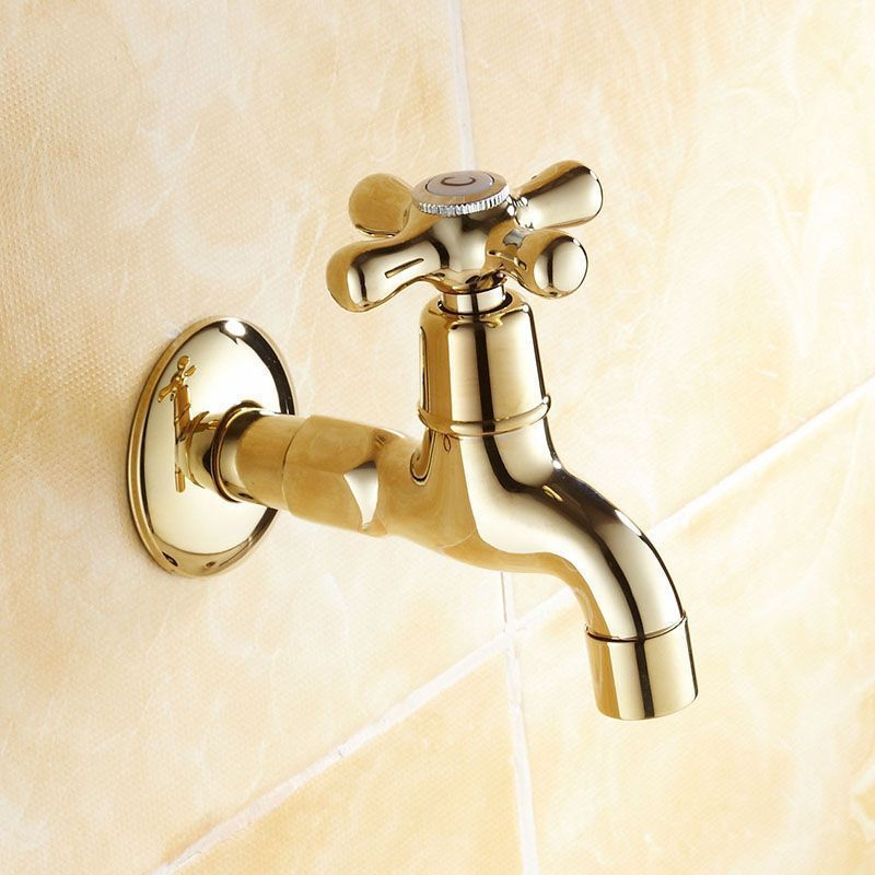 Free Shipping Gold Color Brass Lengthen Bathroom Faucet Basin Faucet  Wachine Machine Water Cold Tap Garden