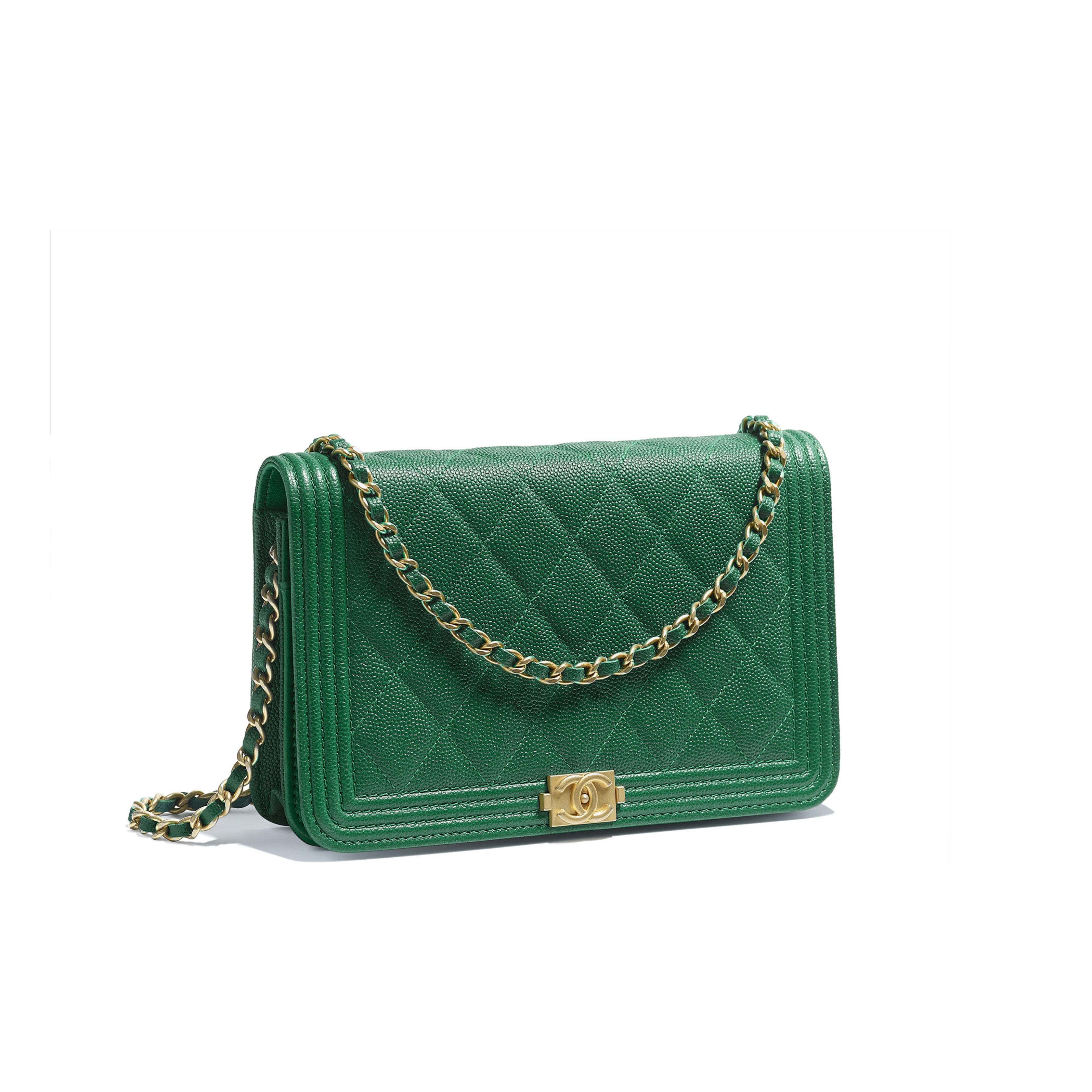 6d9bea160227 BOY CHANEL Wallet on Chain Grained Goatskin & Gold-Tone Metal Green - $2500  view 1 - see full sized version
