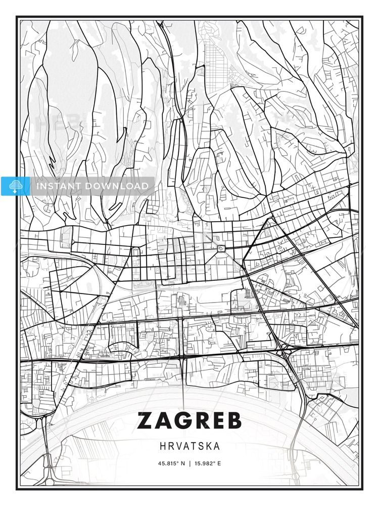 Zagreb Croatia Modern Print Template In Various Formats Hebstreits Sketches Zagreb Modern Prints Printable Maps