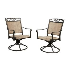 Hampton Bay Santa Maria Swivel Rocker Patio Dining Chair (2 Pack) S2