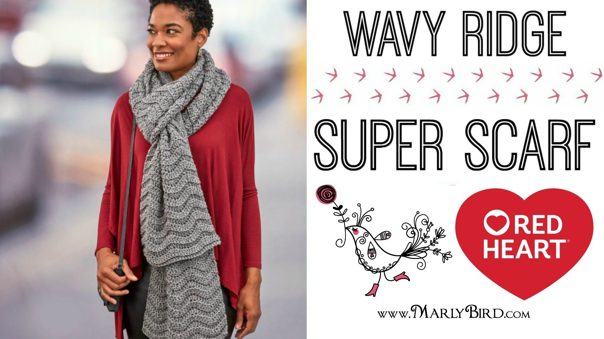 Crochet Wavy Ridge Super Scarf and be on trend for this season! This ...