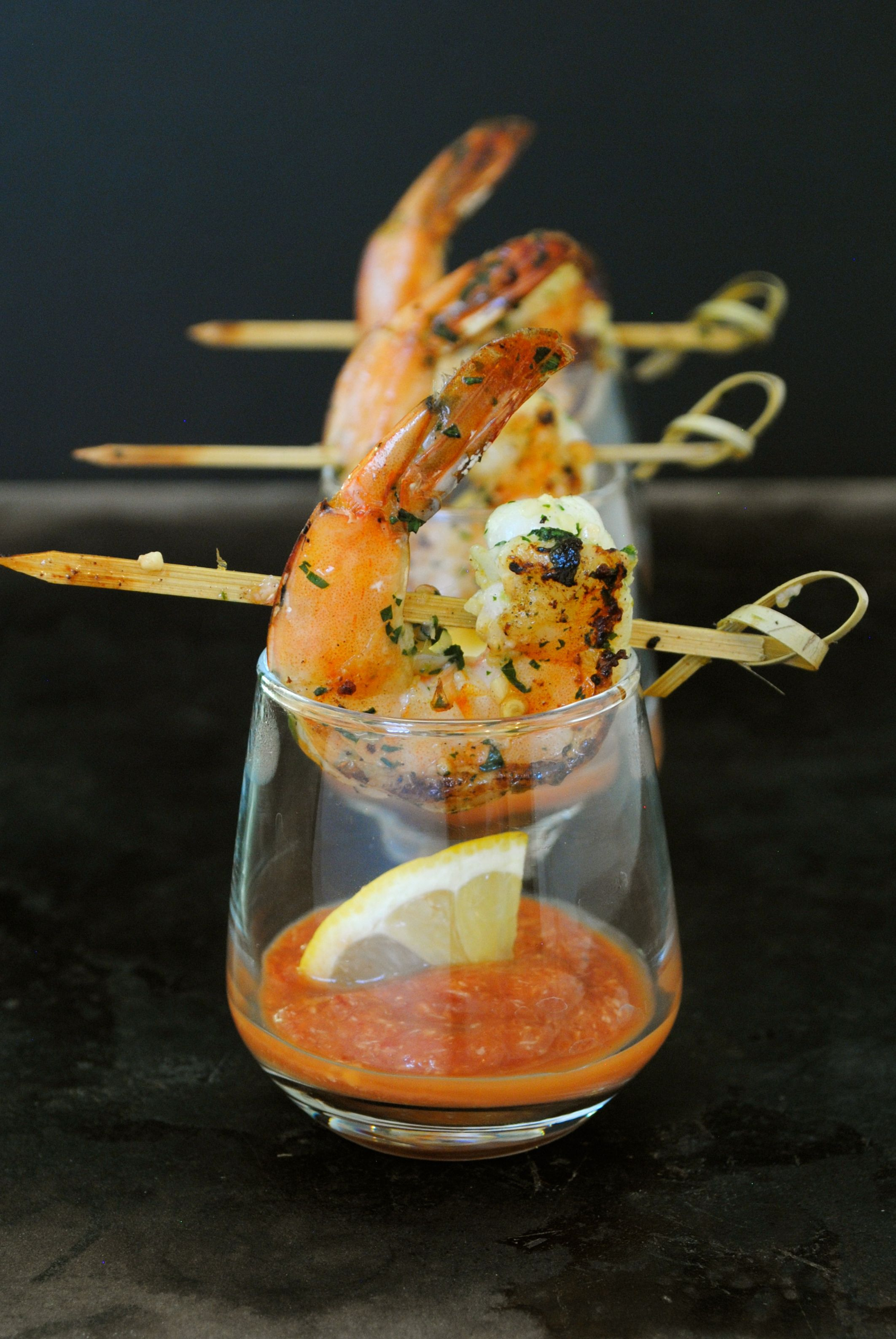 grilled shrimp cocktail individually served with its own. Black Bedroom Furniture Sets. Home Design Ideas