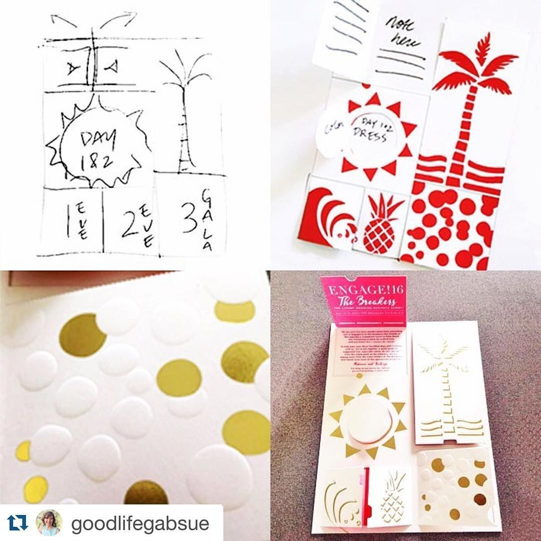 Sneak peek #behindthescenes of #engage16 @thebreakers #repost @goodlifegabsue ・・・ For the first part in a two-part pre-arrival gift, we took inspiration from one of our favorite things; the advent calendar. Perforated flaps open up to itinerary details and suggested attire, while a little blind embossing, gold hot-stamping and sneak peeks at the color palette set the tone of what's to come! Stay posted to see how the story unfolds (or opens up, really) Printing by @checkerboardltd, Icon…